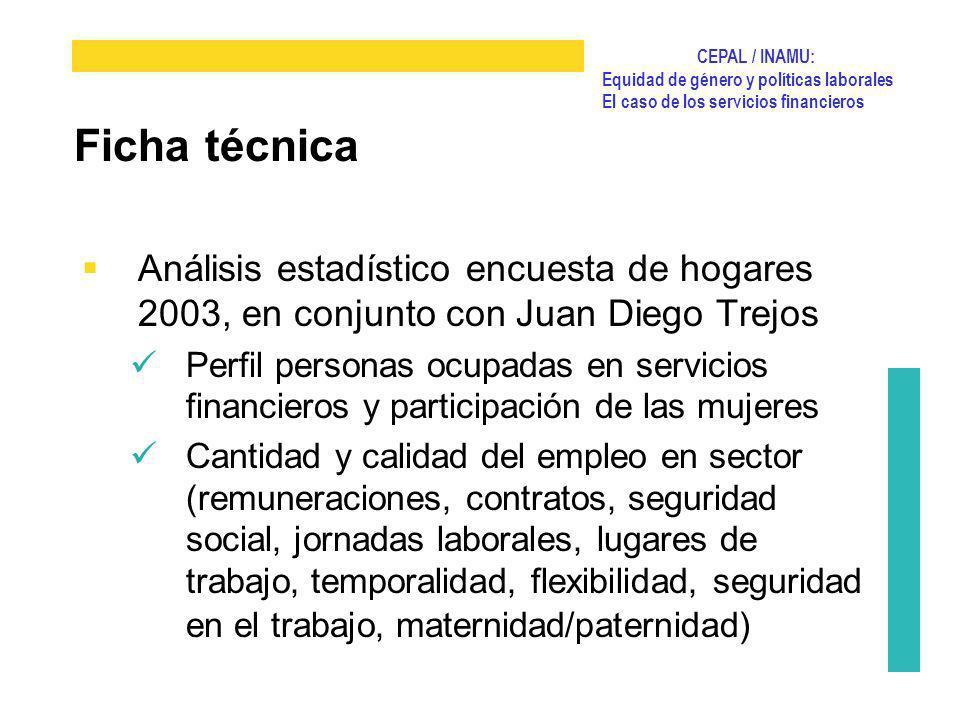CEPAL / INAMU: Equidad de género y políticas laborales El caso de los servicios financieros Análisis estadístico encuesta de hogares 2003, en conjunto