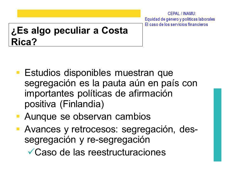 CEPAL / INAMU: Equidad de género y políticas laborales El caso de los servicios financieros ¿Es algo peculiar a Costa Rica? Estudios disponibles muest