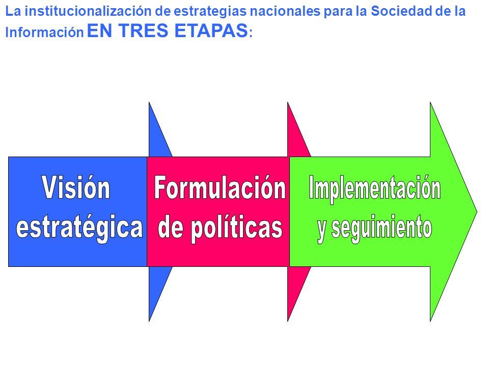 La institucionalización de estrategias nacionales para la Sociedad de la Información EN TRES ETAPAS : Visión estratégica