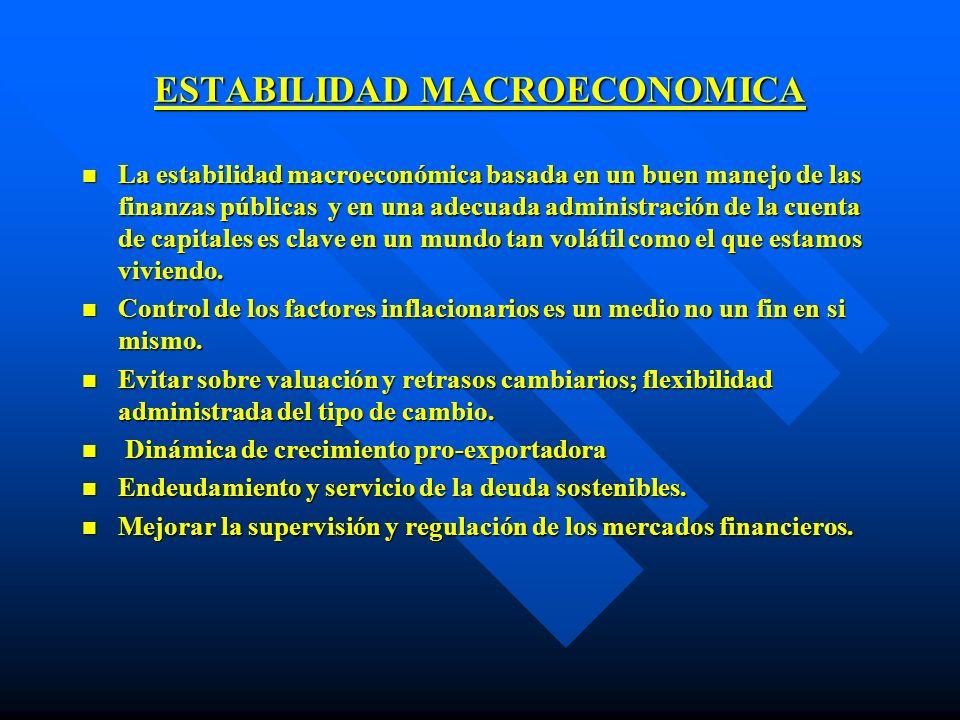 ESTABILIDAD MACROECONOMICA n La estabilidad macroeconómica basada en un buen manejo de las finanzas públicas y en una adecuada administración de la cu