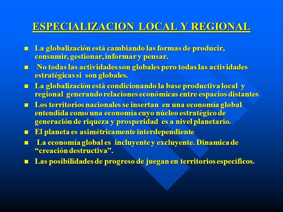 ESPECIALIZACION LOCAL Y REGIONAL n La globalización está cambiando las formas de producir, consumir, gestionar, informar y pensar. n No todas las acti