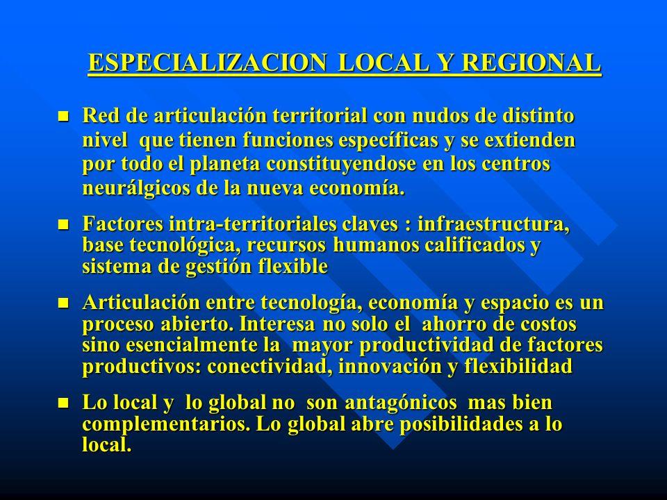 ESPECIALIZACION LOCAL Y REGIONAL n Red de articulación territorial con nudos de distinto nivel que tienen funciones específicas y se extienden por tod