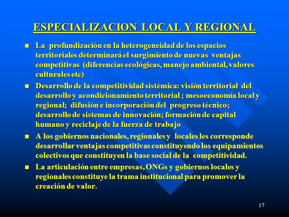 17 ESPECIALIZACION LOCAL Y REGIONAL n La profundización en la heterogeneidad de los espacios territoriales determinará el surgimiento de nuevas ventaj