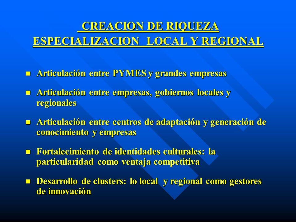 CREACION DE RIQUEZA ESPECIALIZACION LOCAL Y REGIONAL CREACION DE RIQUEZA ESPECIALIZACION LOCAL Y REGIONAL n Articulación entre PYMES y grandes empresa