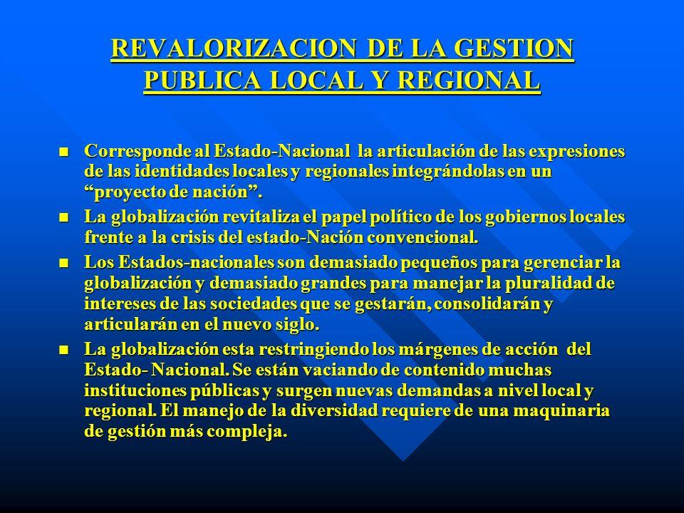 REVALORIZACION DE LA GESTION PUBLICA LOCAL Y REGIONAL n Corresponde al Estado-Nacional la articulación de las expresiones de las identidades locales y