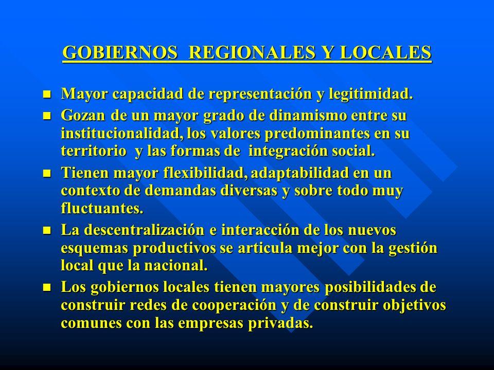 GOBIERNOS REGIONALES Y LOCALES n Mayor capacidad de representación y legitimidad. n Gozan de un mayor grado de dinamismo entre su institucionalidad, l