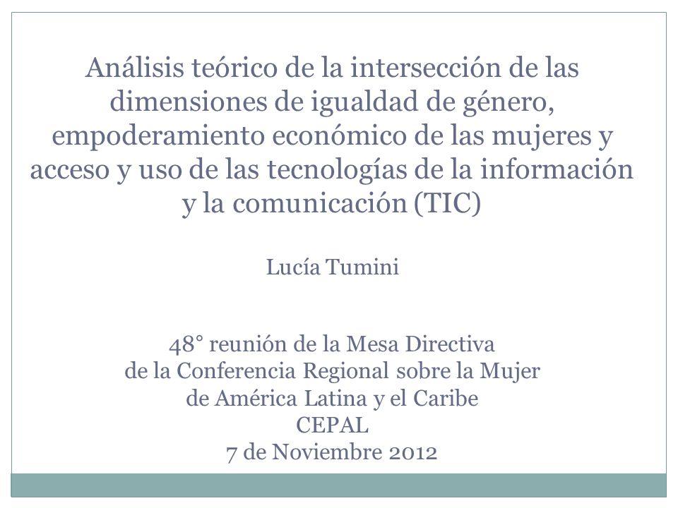 Análisis teórico de la intersección de las dimensiones de igualdad de género, empoderamiento económico de las mujeres y acceso y uso de las tecnología