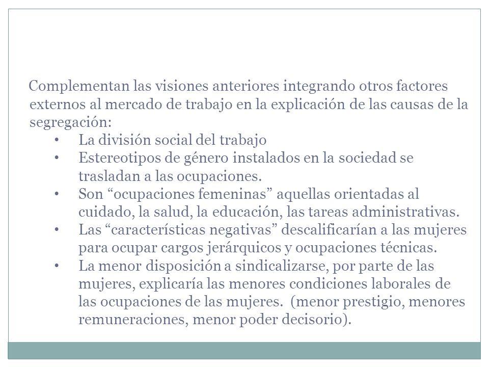 Complementan las visiones anteriores integrando otros factores externos al mercado de trabajo en la explicación de las causas de la segregación: La di