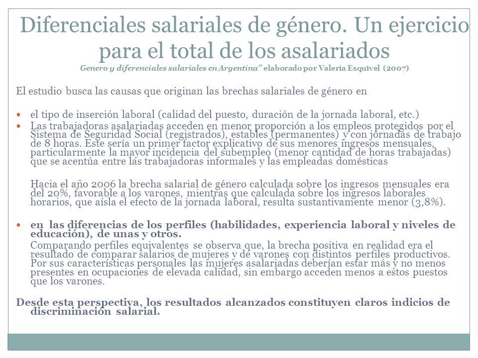 Diferenciales salariales de género. Un ejercicio para el total de los asalariados Genero y diferenciales salariales en Argentina elaborado por Valeria