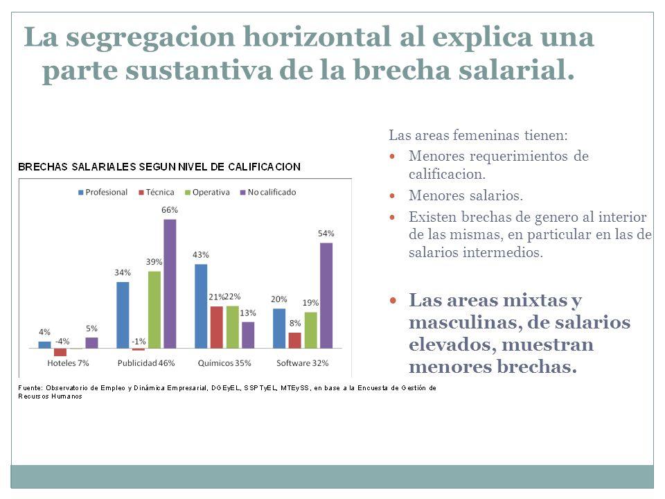 Las areas femeninas tienen: Menores requerimientos de calificacion. Menores salarios. Existen brechas de genero al interior de las mismas, en particul