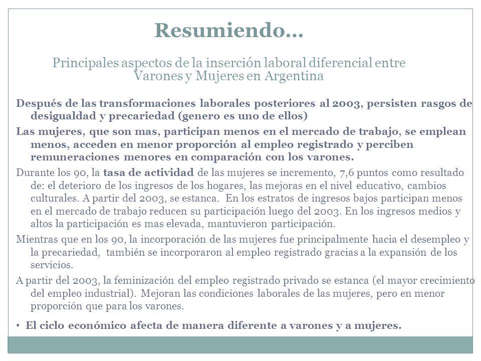 Resumiendo… Principales aspectos de la inserción laboral diferencial entre Varones y Mujeres en Argentina Después de las transformaciones laborales po