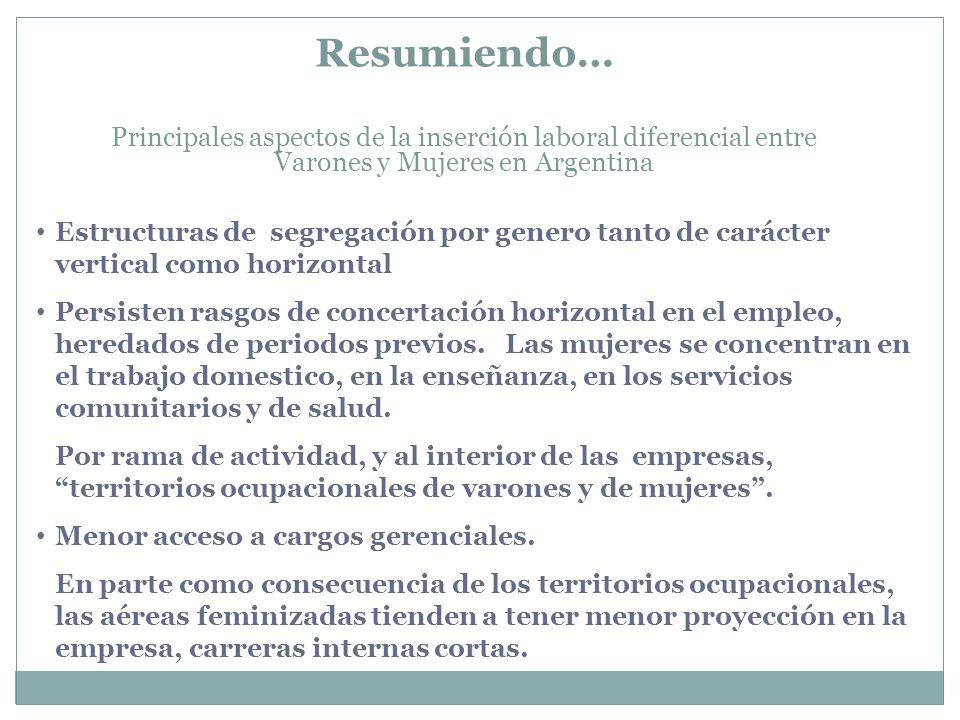 Resumiendo… Principales aspectos de la inserción laboral diferencial entre Varones y Mujeres en Argentina Estructuras de segregación por genero tanto