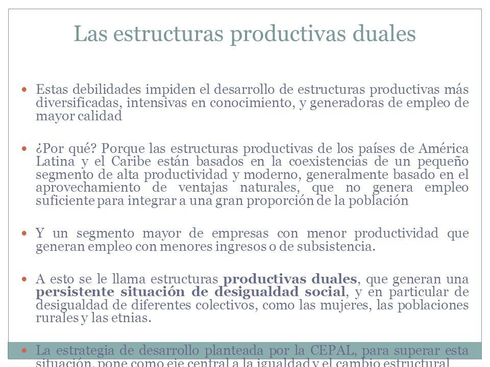 Estas debilidades impiden el desarrollo de estructuras productivas más diversificadas, intensivas en conocimiento, y generadoras de empleo de mayor ca