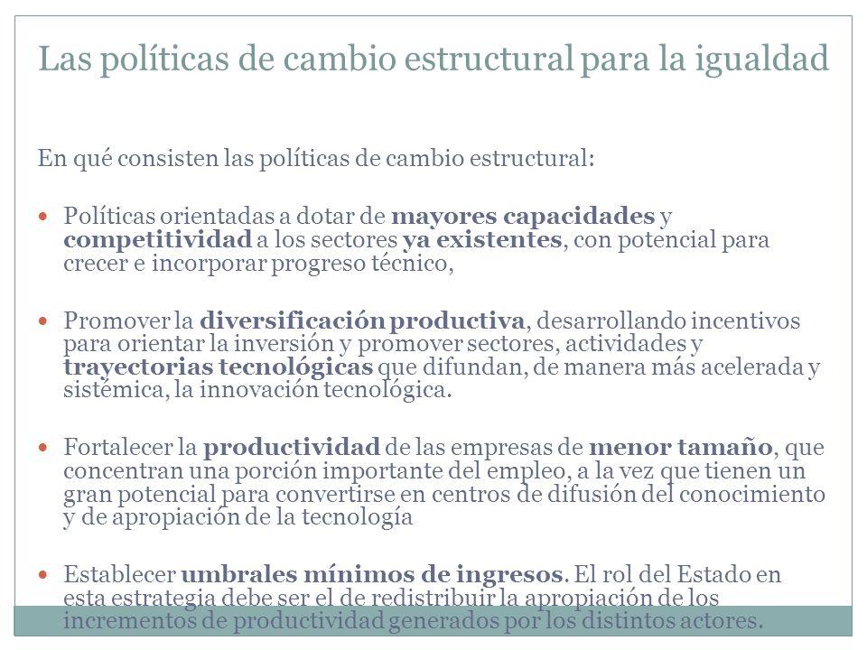 En qué consisten las políticas de cambio estructural: Políticas orientadas a dotar de mayores capacidades y competitividad a los sectores ya existente