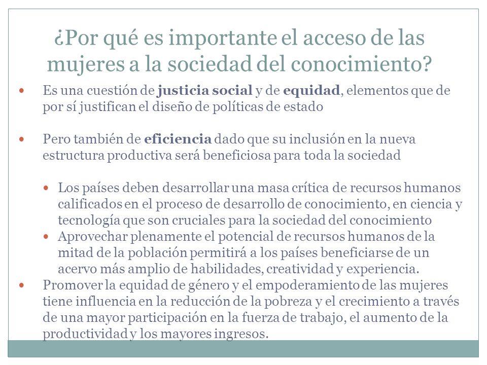 ¿Por qué es importante el acceso de las mujeres a la sociedad del conocimiento? Es una cuestión de justicia social y de equidad, elementos que de por