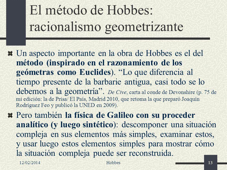 12/02/2014Hobbes13 El método de Hobbes: racionalismo geometrizante Un aspecto importante en la obra de Hobbes es el del método (inspirado en el razona