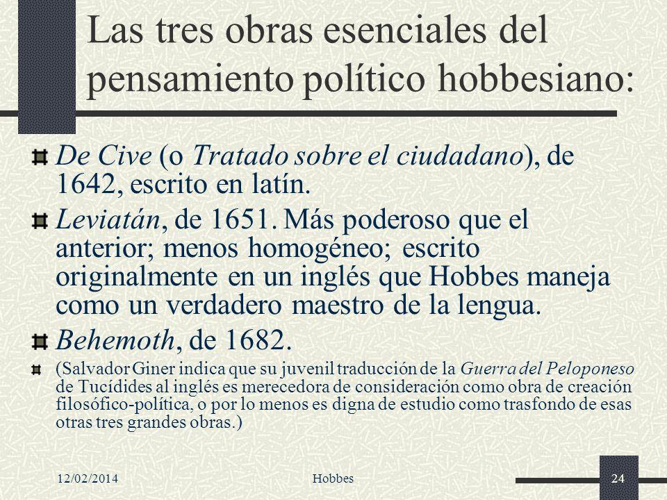 12/02/2014Hobbes24 Las tres obras esenciales del pensamiento político hobbesiano: De Cive (o Tratado sobre el ciudadano), de 1642, escrito en latín. L