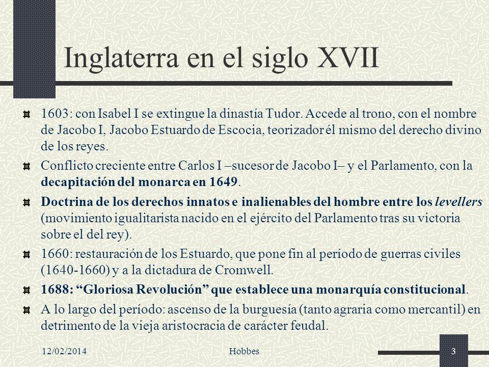 12/02/2014Hobbes24 Las tres obras esenciales del pensamiento político hobbesiano: De Cive (o Tratado sobre el ciudadano), de 1642, escrito en latín.