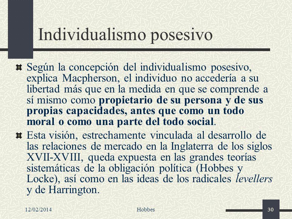 12/02/2014Hobbes30 Individualismo posesivo Según la concepción del individualismo posesivo, explica Macpherson, el individuo no accedería a su liberta