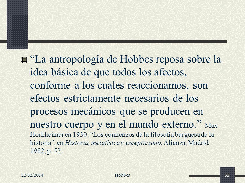 12/02/2014Hobbes32 La antropología de Hobbes reposa sobre la idea básica de que todos los afectos, conforme a los cuales reaccionamos, son efectos est