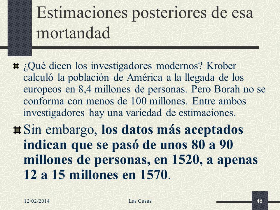 12/02/2014Las Casas46 Estimaciones posteriores de esa mortandad ¿Qué dicen los investigadores modernos? Krober calculó la población de América a la ll