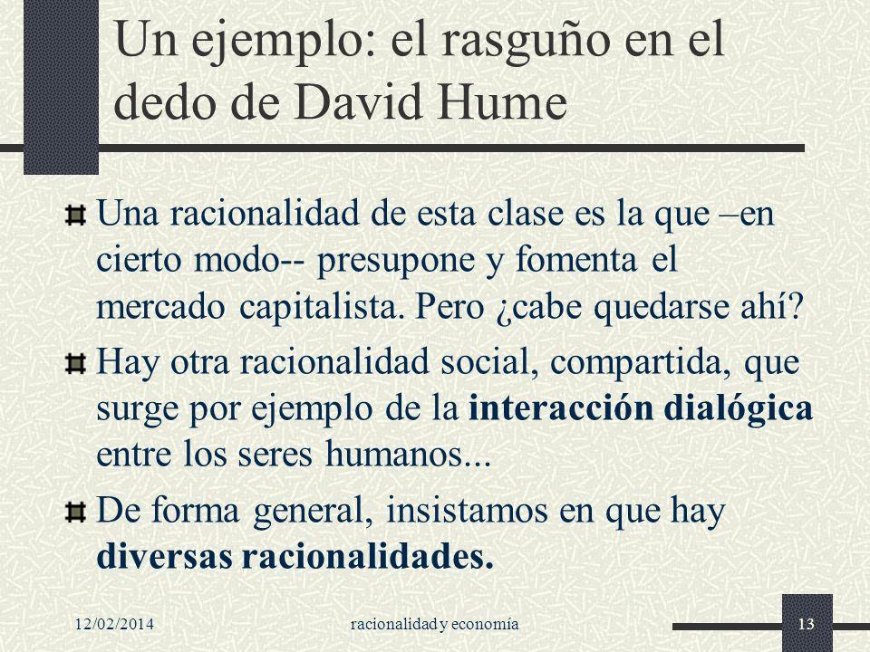 12/02/2014racionalidad y economía13 Un ejemplo: el rasguño en el dedo de David Hume Una racionalidad de esta clase es la que –en cierto modo-- presupo