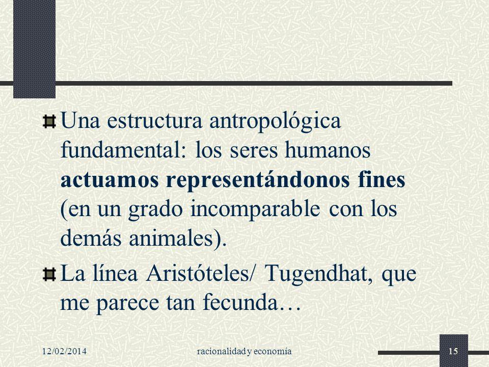 Una estructura antropológica fundamental: los seres humanos actuamos representándonos fines (en un grado incomparable con los demás animales). La líne