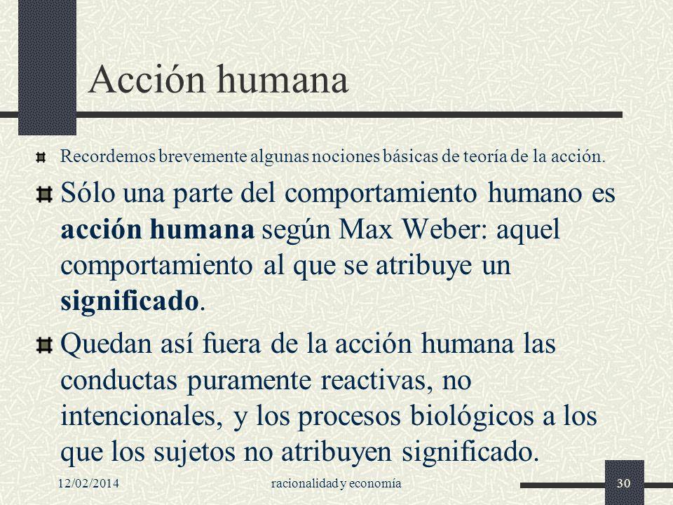 12/02/2014racionalidad y economía30 Acción humana Recordemos brevemente algunas nociones básicas de teoría de la acción. Sólo una parte del comportami