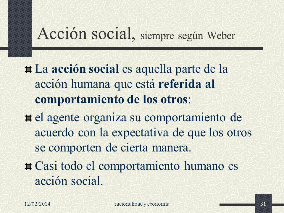 12/02/2014racionalidad y economía31 Acción social, siempre según Weber La acción social es aquella parte de la acción humana que está referida al comp