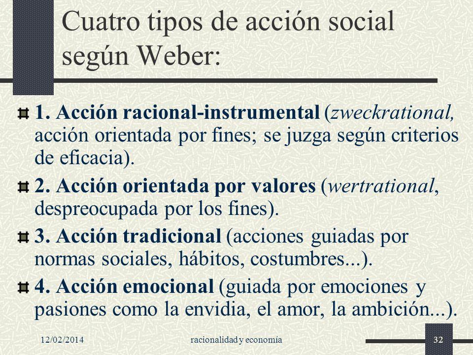 12/02/2014racionalidad y economía32 Cuatro tipos de acción social según Weber: 1. Acción racional-instrumental (zweckrational, acción orientada por fi