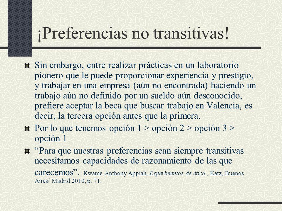 ¡Preferencias no transitivas! Sin embargo, entre realizar prácticas en un laboratorio pionero que le puede proporcionar experiencia y prestigio, y tra