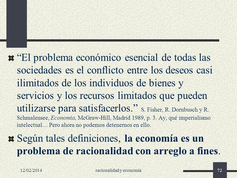 12/02/2014racionalidad y economía72 El problema económico esencial de todas las sociedades es el conflicto entre los deseos casi ilimitados de los ind