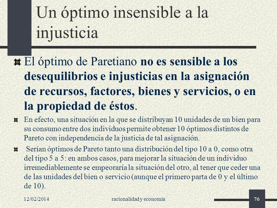 Un óptimo insensible a la injusticia El óptimo de Paretiano no es sensible a los desequilibrios e injusticias en la asignación de recursos, factores,