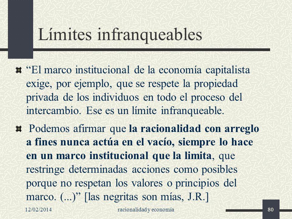 12/02/2014racionalidad y economía80 Límites infranqueables El marco institucional de la economía capitalista exige, por ejemplo, que se respete la pro