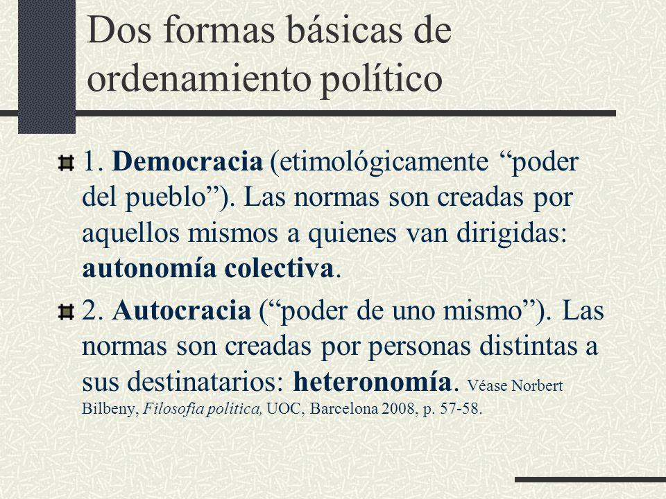 Dos formas básicas de ordenamiento político 1. Democracia (etimológicamente poder del pueblo). Las normas son creadas por aquellos mismos a quienes va