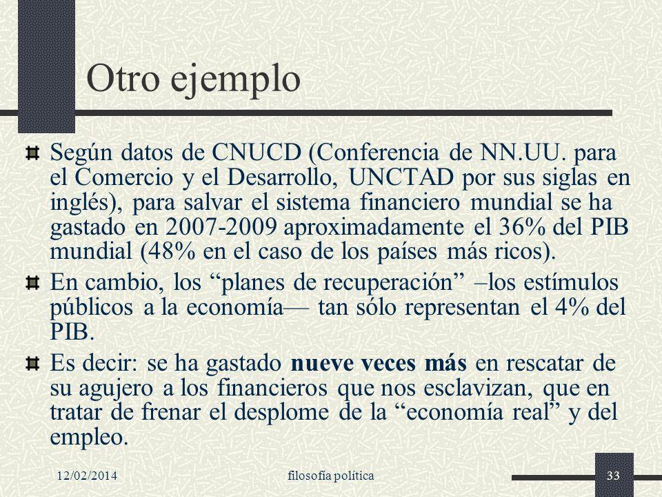 12/02/2014filosofía política33 Otro ejemplo Según datos de CNUCD (Conferencia de NN.UU. para el Comercio y el Desarrollo, UNCTAD por sus siglas en ing