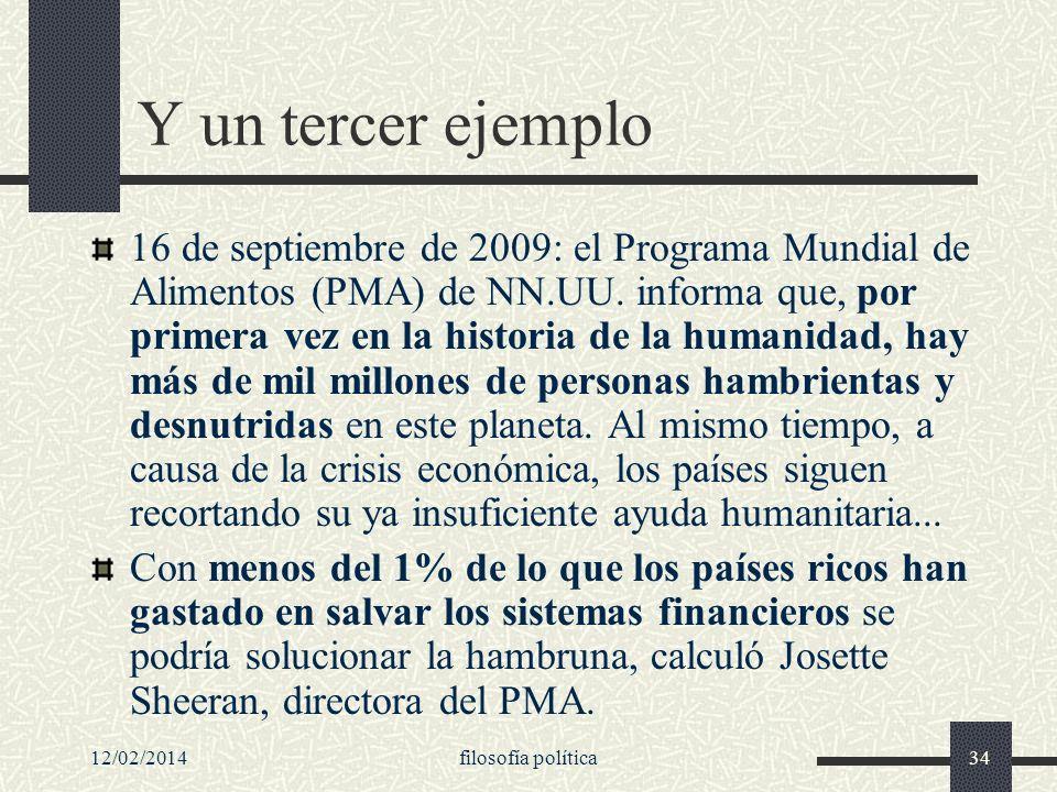 12/02/2014filosofía política34 Y un tercer ejemplo 16 de septiembre de 2009: el Programa Mundial de Alimentos (PMA) de NN.UU. informa que, por primera