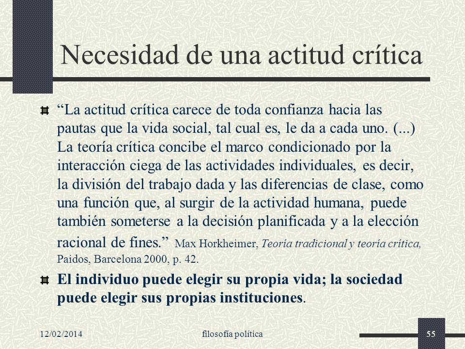 12/02/2014filosofía política55 Necesidad de una actitud crítica La actitud crítica carece de toda confianza hacia las pautas que la vida social, tal c