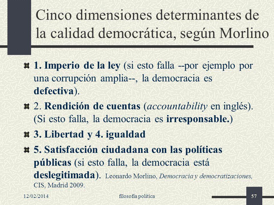 12/02/2014filosofía política57 Cinco dimensiones determinantes de la calidad democrática, según Morlino 1. Imperio de la ley (si esto falla --por ejem
