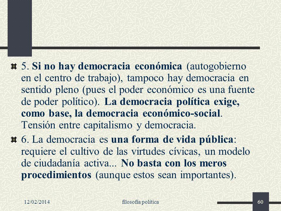 12/02/2014filosofía política60 5. Si no hay democracia económica (autogobierno en el centro de trabajo), tampoco hay democracia en sentido pleno (pues