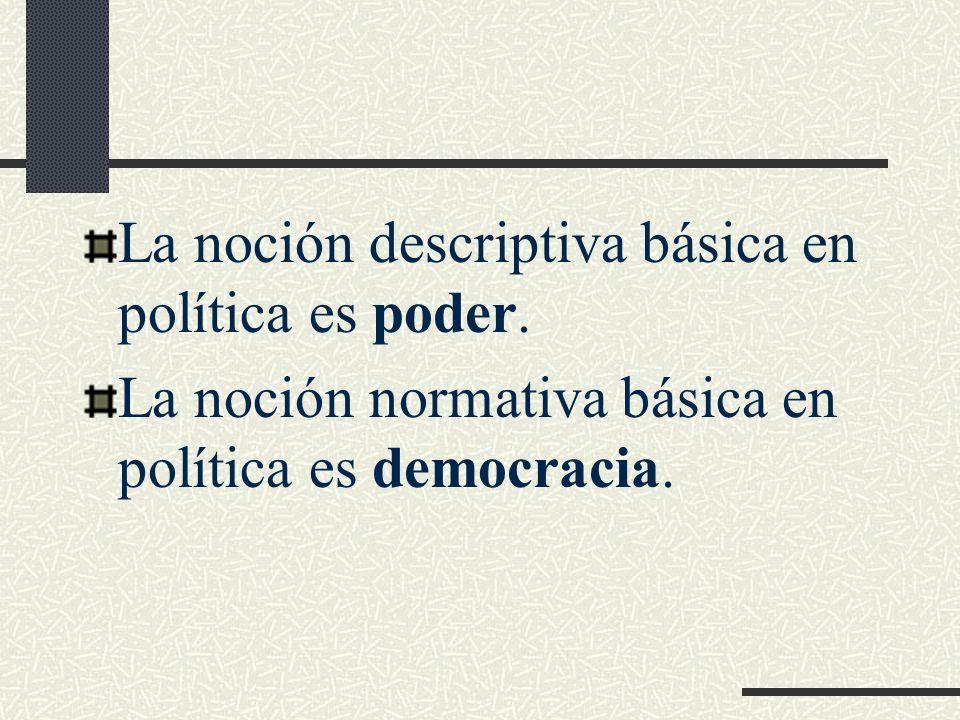 La noción descriptiva básica en política es poder. La noción normativa básica en política es democracia.