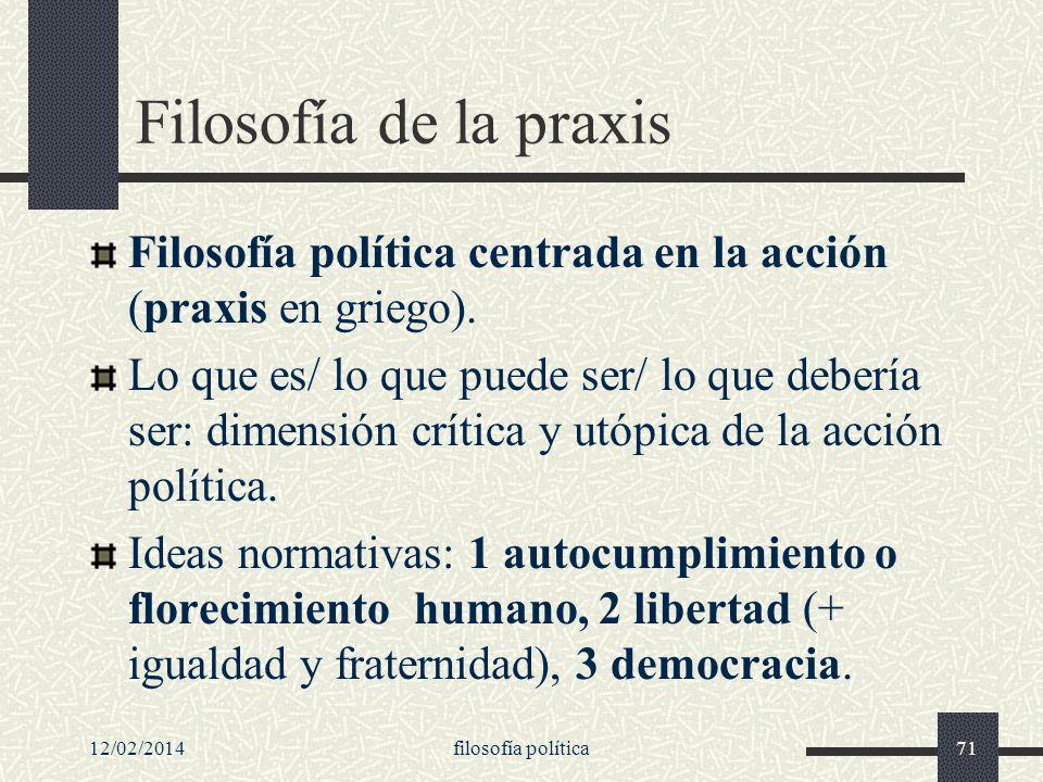 12/02/2014filosofía política71 Filosofía de la praxis Filosofía política centrada en la acción (praxis en griego). Lo que es/ lo que puede ser/ lo que