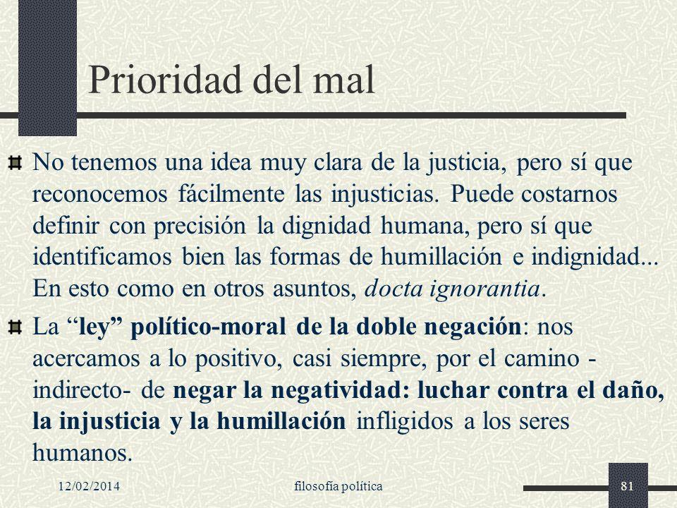 12/02/2014filosofía política81 Prioridad del mal No tenemos una idea muy clara de la justicia, pero sí que reconocemos fácilmente las injusticias. Pue