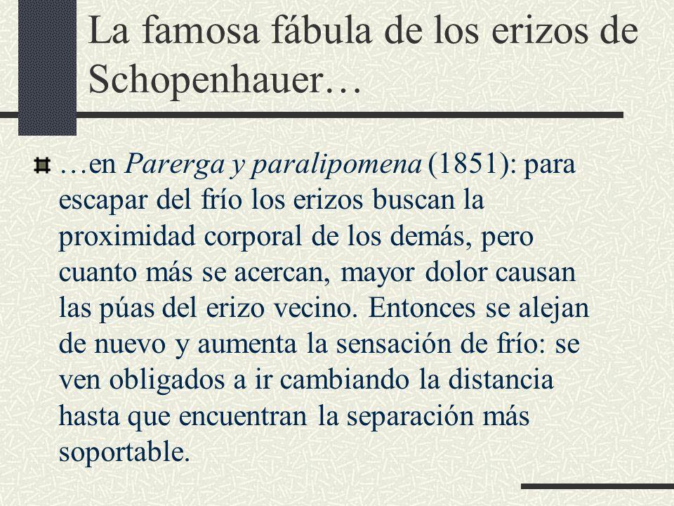La famosa fábula de los erizos de Schopenhauer… …en Parerga y paralipomena (1851): para escapar del frío los erizos buscan la proximidad corporal de l