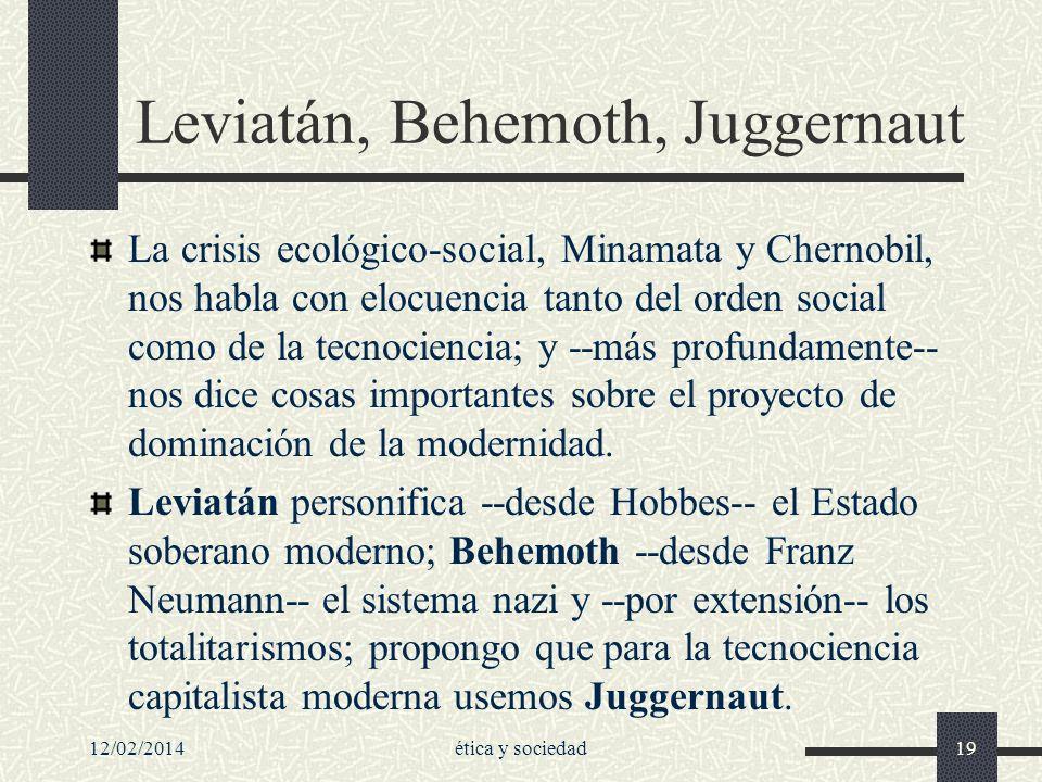 12/02/2014ética y sociedad19 Leviatán, Behemoth, Juggernaut La crisis ecológico-social, Minamata y Chernobil, nos habla con elocuencia tanto del orden