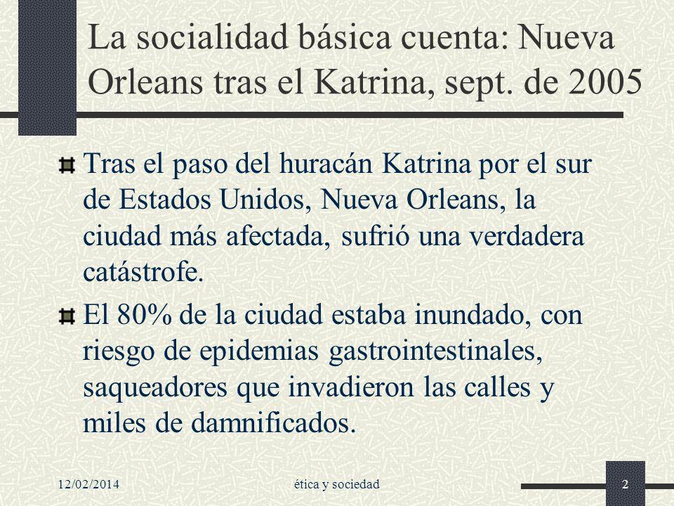 La socialidad básica cuenta: Nueva Orleans tras el Katrina, sept. de 2005 Tras el paso del huracán Katrina por el sur de Estados Unidos, Nueva Orleans