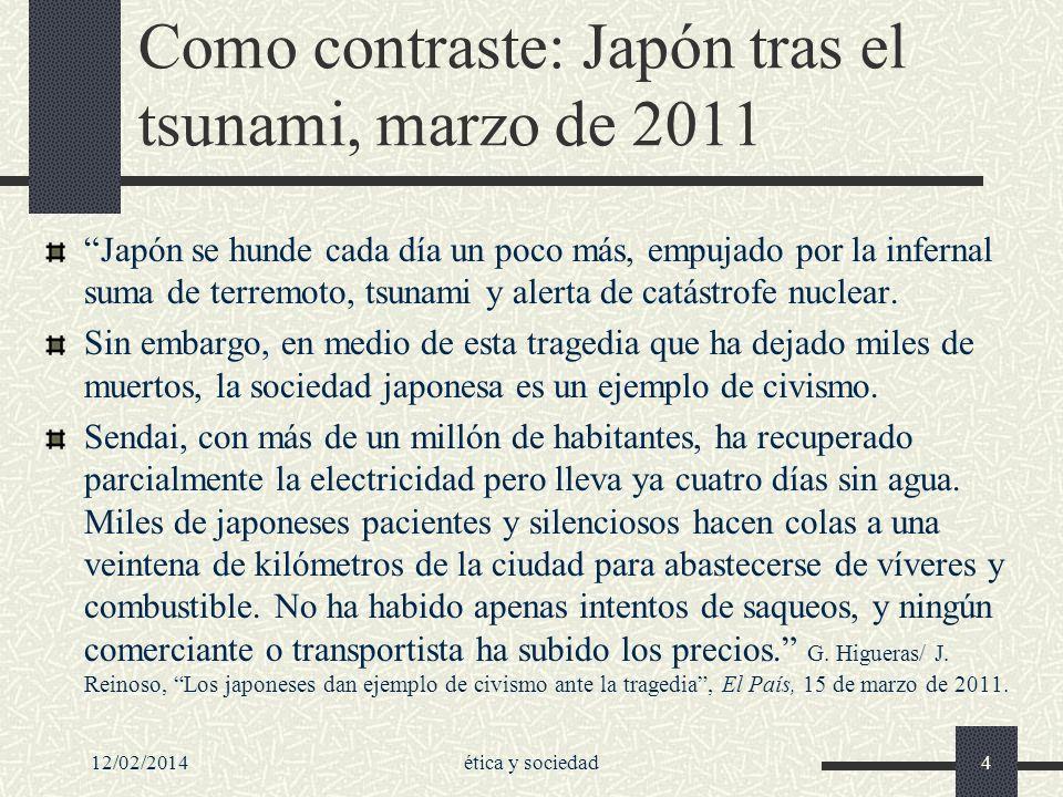 Como contraste: Japón tras el tsunami, marzo de 2011 Japón se hunde cada día un poco más, empujado por la infernal suma de terremoto, tsunami y alerta