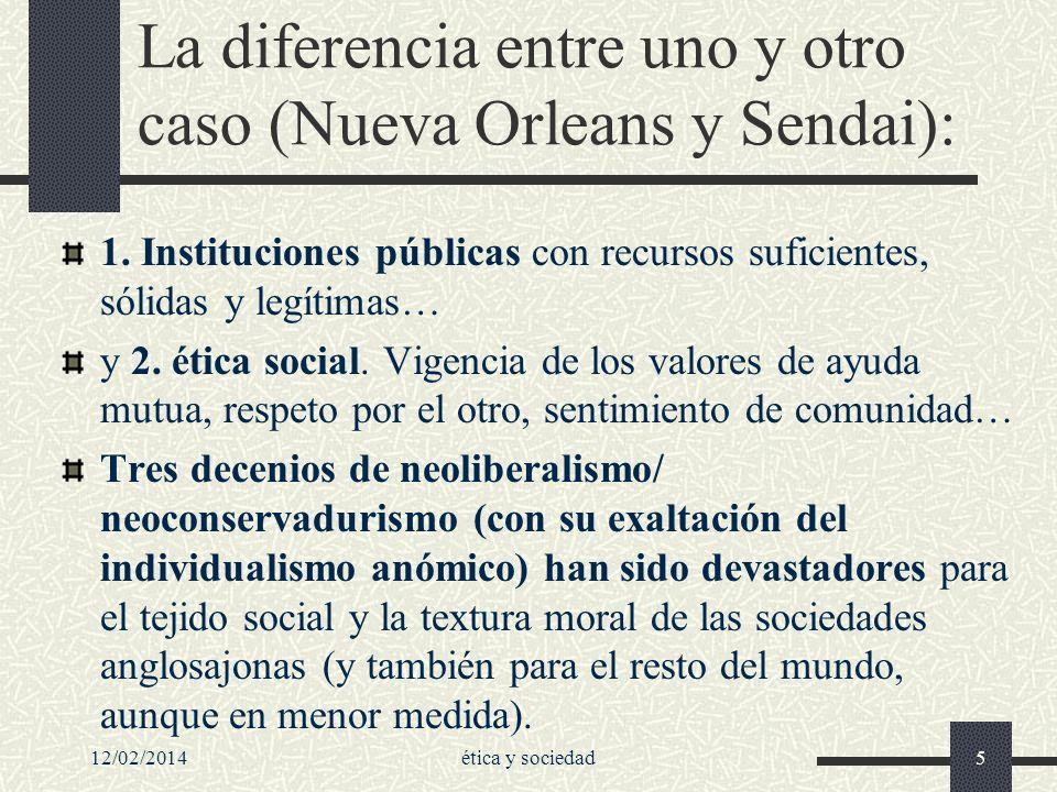 La diferencia entre uno y otro caso (Nueva Orleans y Sendai): 1. Instituciones públicas con recursos suficientes, sólidas y legítimas… y 2. ética soci