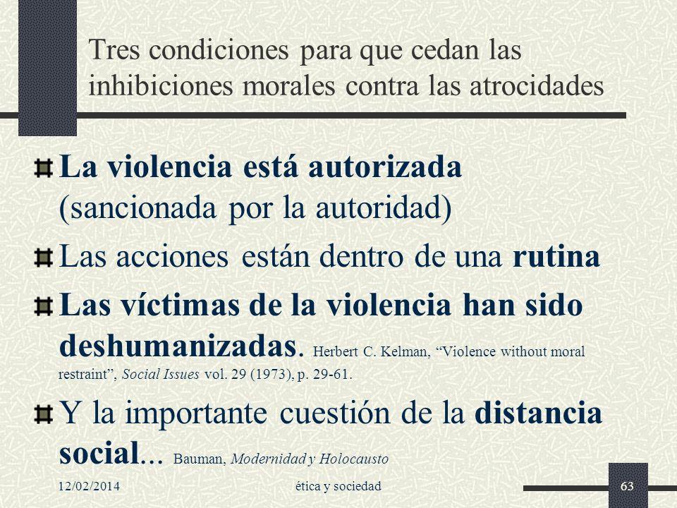 12/02/2014ética y sociedad63 Tres condiciones para que cedan las inhibiciones morales contra las atrocidades La violencia está autorizada (sancionada