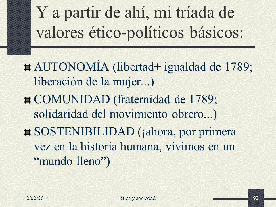 12/02/2014ética y sociedad92 Y a partir de ahí, mi tríada de valores ético-políticos básicos: AUTONOMÍA (libertad+ igualdad de 1789; liberación de la